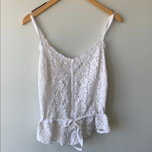 Hollister White Lace Tank Top
